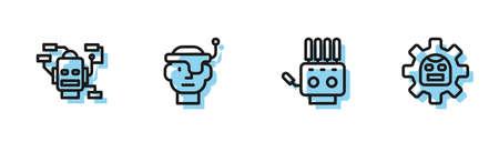 Set line Mechanical robot hand, Robot, Smart glasses and icon. Vector 向量圖像