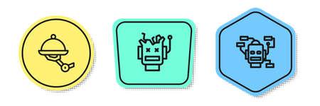 Set line Waiter robot, Broken and Robot. Colored shapes. Vector