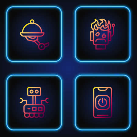 Set line Turn off robot from phone, Robot, Waiter and burned out. Gradient color icons. Vector