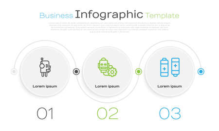 Set line Robot, setting and Battery. Business infographic template. Vector 向量圖像
