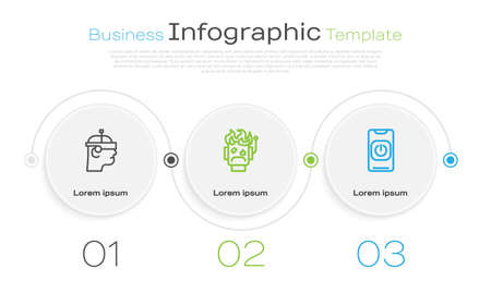 Set line Smart glasses, Robot burned out and Turn off robot from phone. Business infographic template. Vector