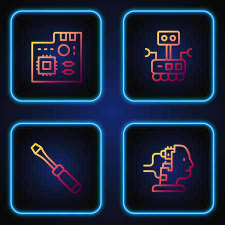 Set line Robot for maintenance, Screwdriver, Motherboard digital chip and . Gradient color icons. Vector 向量圖像