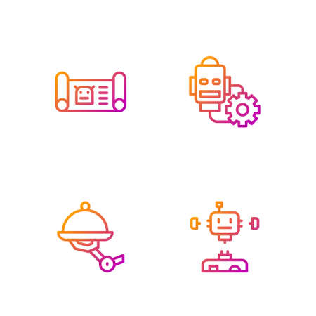 Set line Disassembled robot, Waiter, Robot blueprint and setting. Gradient color icons. Vector