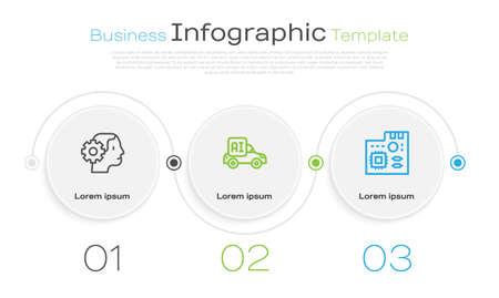 Set line Humanoid robot, Autonomous smart car and Motherboard digital chip. Business infographic template. Vector