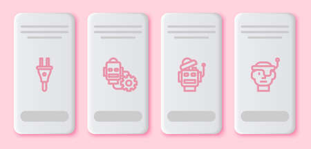 Set line Electric plug, Robot setting, and Smart glasses. White rectangle button. Vector