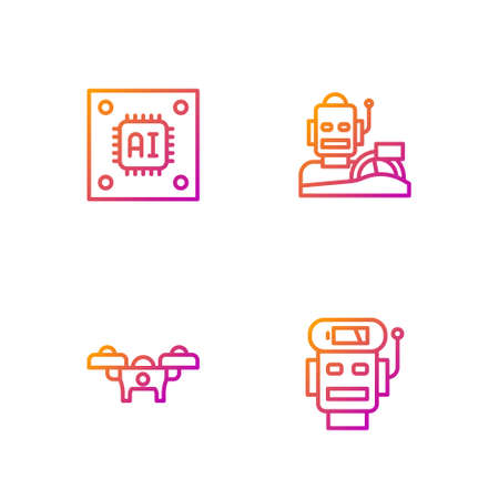 Set line Robot low battery charge, Drone, Processor with microcircuits CPU and humanoid driving car. Gradient color icons. Vector