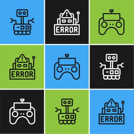 Set line Robot, Remote control and Error in robot icon. Vector