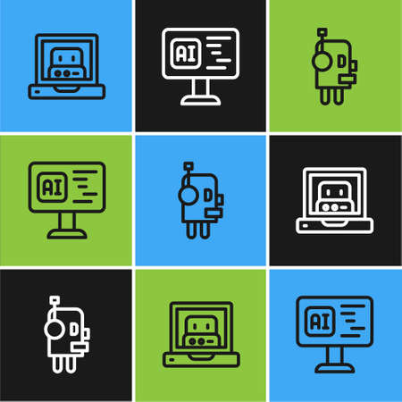 Set line Creating robot, Robot and Software icon. Vector 向量圖像