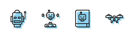 Set line User manual, Robot, Disassembled robot and Drone icon. Vector 向量圖像
