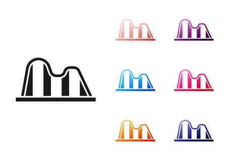 Black Roller coaster icon isolated on white background. Amusement park. Childrens entertainment playground, recreation park. Set icons colorful. Vector