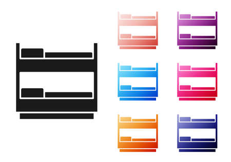 Black Bunk bed icon isolated on white background. Set icons colorful. Vector Vecteurs
