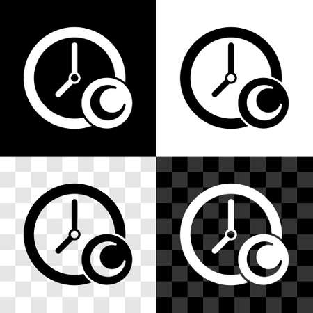 Set Time to sleep icon isolated on black and white, transparent background. Sleepy zzz. Healthy lifestyle. Vector