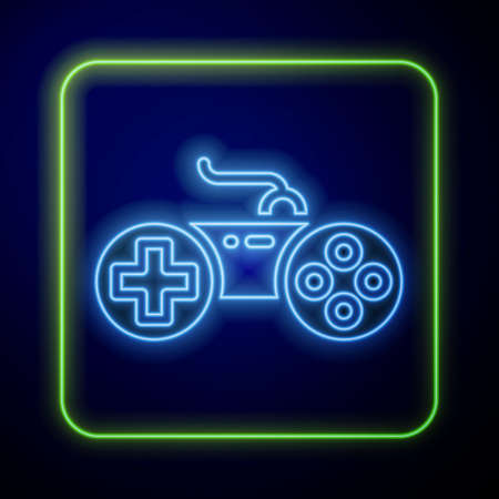 Glowing neon Gamepad icon isolated on blue background. Game controller. Vector