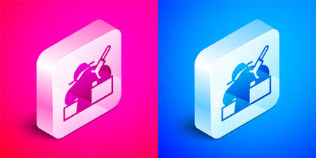 Isometric Murder icon isolated on pink and blue background. Body, bleeding, corpse, bleeding icon. Concept of crime scene. Silver square button. Vector