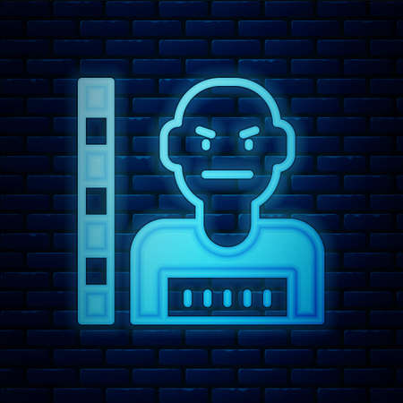 Glowing neon Suspect criminal icon isolated on brick wall background. The criminal in prison, suspected near the board. Vector