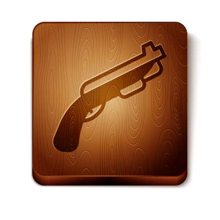 Brown Police shotgun icon isolated on white background. Hunting shotgun. Wooden square button. Vector