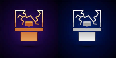 Gold and silver Broken window icon isolated on black background. Damaged window. Beaten windowpane concept. Vandalism. Vector