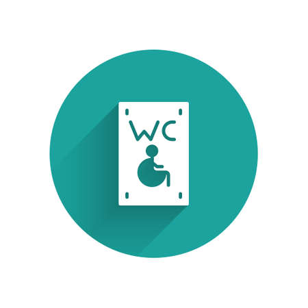 White Separated toilet for disabled persons icon isolated with long shadow. Handicapped accessible male and female WC. Green circle button. Vector