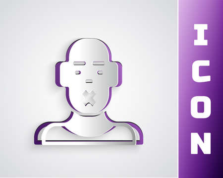 Paper cut Head of deaf and dumb guy icon isolated on grey background. Dumbness sign. Disability concept. Paper art style. Vector