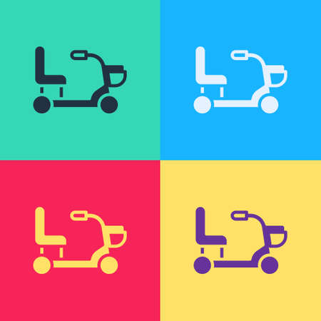 Pop art Electric wheelchair for disabled people icon isolated on color background. Mobility scooter icon. Vector