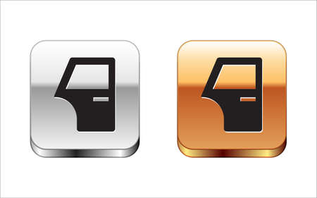 Black Car door icon isolated on white background. Silver and gold square buttons. Vector