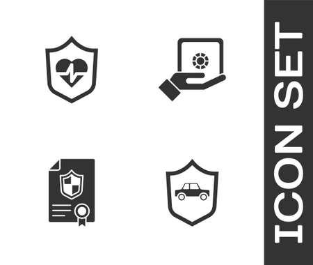 Set Car with shield, Life insurance, Contract and Safe hand icon. Vector