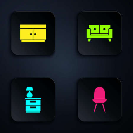 Set Chair, Chest of drawers, Furniture nightstand with lamp and Sofa. Black square button. Vector