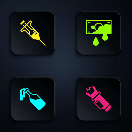 Set Police electric shocker, Syringe, Cocktail molotov and Bloody money. Black square button. Vector Vector Illustration