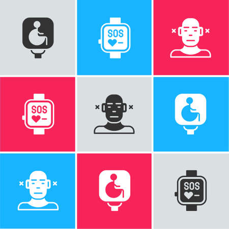 Set Disabled wheelchair, Smart watch and Deaf icon. Vector