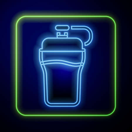 Glowing neon Fitness shaker icon isolated on blue background. Sports shaker bottle with lid for water and protein cocktails. Vector