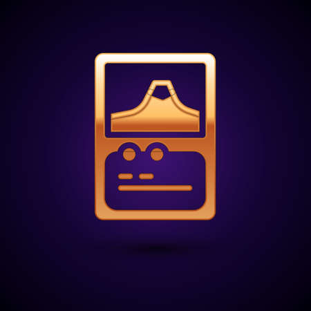 Gold Card game collection icon isolated on black background. Fantasy ui kit with magic items. Vector