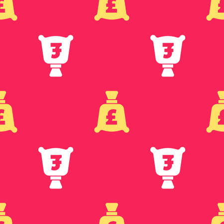 Yellow Money bag with pound sterling symbol icon isolated seamless pattern on red background. Banking currency sign. Cash symbol. Vector