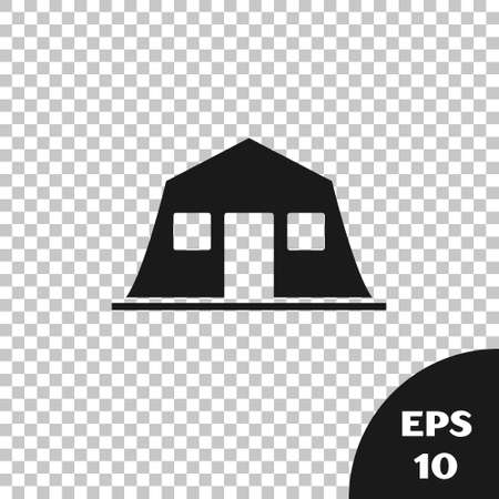 Black Military barracks station icon isolated on transparent background. Airstrikes architecture army. Vector