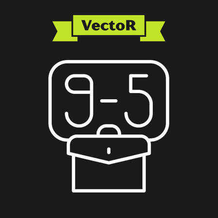 White line From 9:00 to 5:00 job icon isolated on black background. Concept meaning work time schedule daily routine classic traditional employment. Vector Vector Illustratie