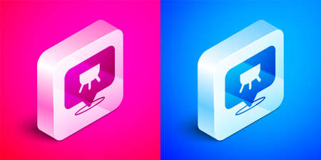 Isometric Udder icon isolated on pink and blue background. Silver square button. Vector Vector Illustratie