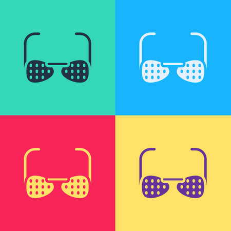 Pop art Glasses for the blind and visually impaired icon isolated on color background. Vector Vector Illustratie