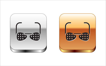 Black Glasses for the blind and visually impaired icon isolated on white background. Silver and gold square buttons. Vector