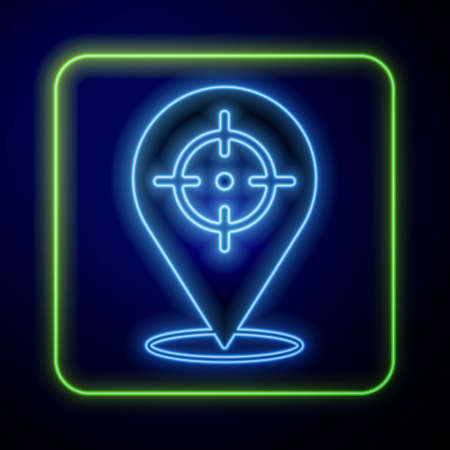 Glowing neon Target financial goal concept icon isolated on blue background. Symbolic goals achievement, success. Vector Vetores