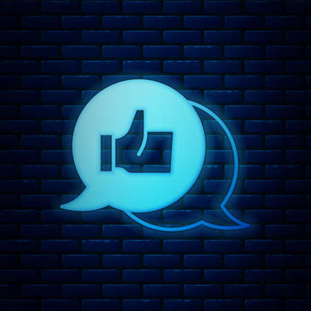 Glowing neon Consumer or customer product rating icon isolated on brick wall background. Vector