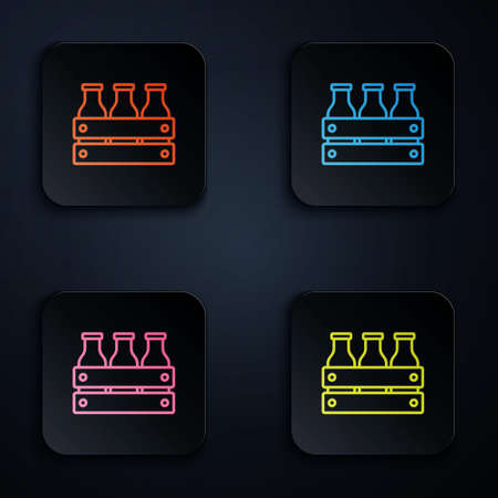 Color neon line Bottled milk packed in wooden box icon isolated on black background. Set icons in square buttons. Vector Vetores