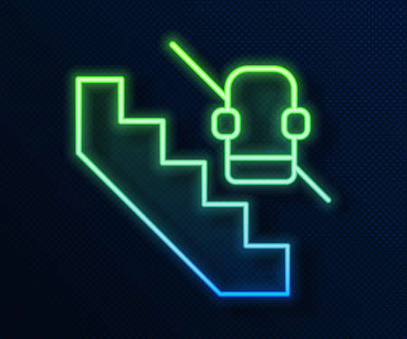 Glowing neon line Disabled access elevator lift escalator icon isolated on blue background. Movable mechanical chair platform for handicapped human. Vector