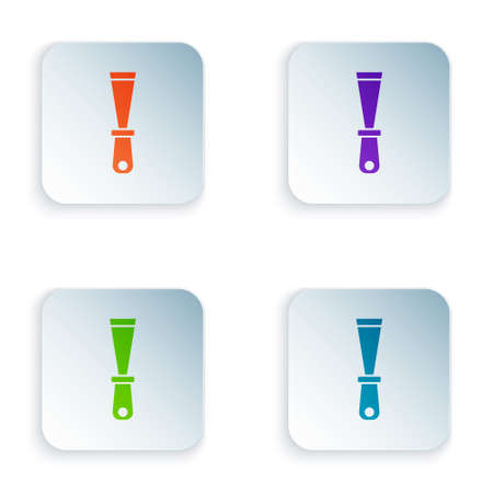 Color Putty knife icon isolated on white background. Spatula repair tool. Spackling or paint instruments. Set colorful icons in square buttons. Vector
