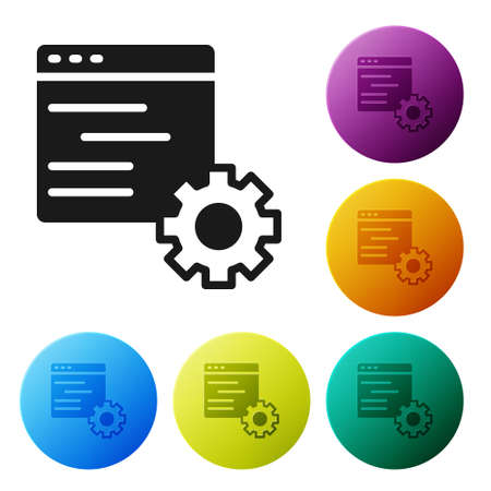 Black Computer api interface icon isolated on white background. Application programming interface API technology. Software integration. Set icons in color circle buttons. Vector