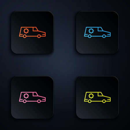 Color neon line Hearse car icon isolated on black background. Set icons in square buttons. Vector