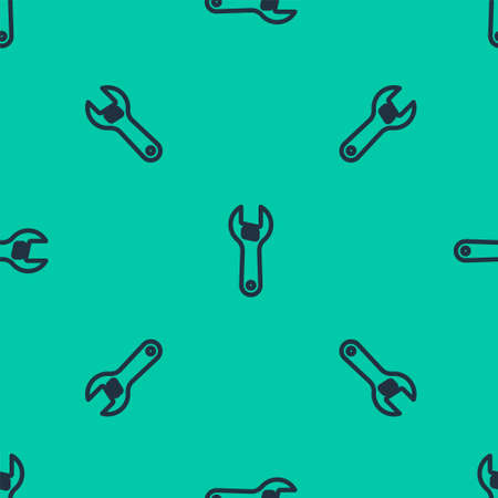 Blue line Adjustable wrench icon isolated seamless pattern on green background. Vector Foto de archivo - 168182937