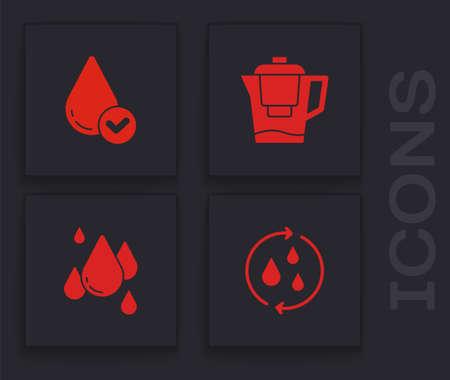 Set Recycle clean aqua, Water drop, jug with filter icon. Vector
