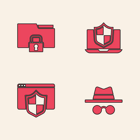 Set Incognito mode, Folder and lock, Laptop protected with shield and Browser icon. Vector Векторная Иллюстрация