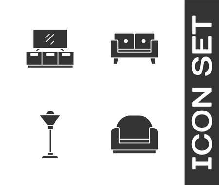 Set Armchair, TV table stand, Floor lamp and Sofa icon. Vector