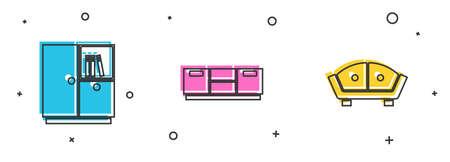 Set Wardrobe, Furniture nightstand and Sofa icon. Vector Ilustración de vector