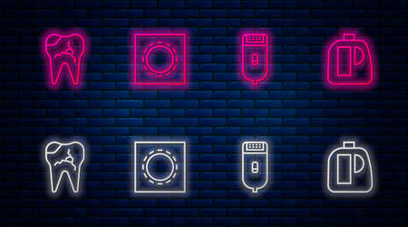 Set line Condom in package safe sex, Electrical hair clipper or shaver, Broken tooth and Bottles for cleaning agent. Glowing neon icon on brick wall. Vector